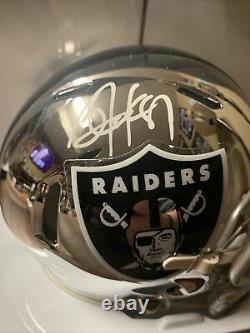 Raiders BO JACKSON Signed Riddell Oakland CHROME Mini Helmet AUTO Beckett