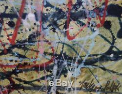 Rare Unique painting, Drip Art, signed, Jackson Pollock w COA & docs Warhol era