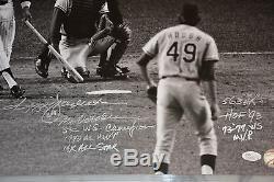 Reggie Jackson Autographed 16x20 (7 Inscriptions) with Career Highlights JSA