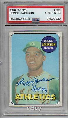 Reggie Jackson Hand Signed 1969 Topps Rookie # 260 Psa Slabbed 27603630