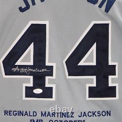 Reggie Jackson Signed New York Stats Grey Baseball Jersey (JSA)