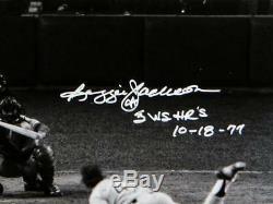 Reggie Jackson Signed Yankees 16x20 BW Mid Swing HR PF 1977 WS Photo- JSA W Auth