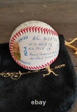 Reggie Jackson signed Autographed Stat ball with19 Inscriptions RJ. COM LE 001/1000
