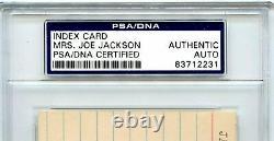 SHOELESS JOE JACKSON Signed Index Card By Mrs Joe Jackson 1919 Black Sox PSA COA