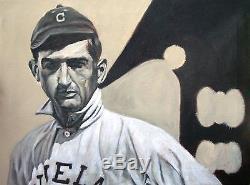 SHOELESS JOE joe jackson Original Signed Baseball Acrylic Painting 18x24 inches
