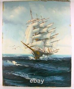 Ship At Sea Done With Oil, Signed Jackson
