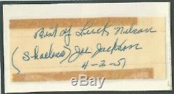 Shoeless Joe Jackson 4-2-51 Signed Cut Autograph By Wife Katy Jsa Certified