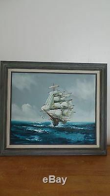 Signed Clipper Ship oil/canvas Painting signed by artist Jackson