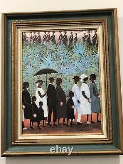 Signed Ida Jackson Funeral Procession Genuine Lithograph Framed 12 X 16