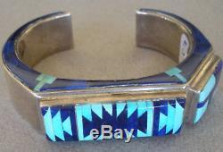 Signed Navajo artist Jackson's exquisite lapis + turquoise bracelet cuff 78 gr