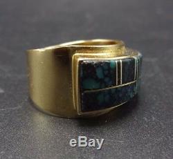 Signed Vintage NAVAJO 14 Karat GOLD & Spiderweb TURQUOISE Inlay RING, size 7.25