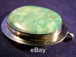 TOMMY JACKSON Pendant 1.8 X 1.5 signed Navajo GEM TURQUOISE Sterling Silver