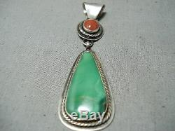 Tommy Jackson Vintage Navajo Damale Turquoise Sterling Silver Pendant Old