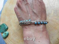 Turquoise & Stamped Sterling Silver Carinated Cuff Bracelet Tommy Jackson Navajo