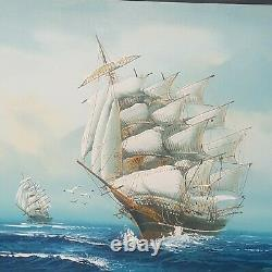 Vintage Oil Painting, Artist Hewitt Jackson, Clippers, Nautical, Ships 1960-1975