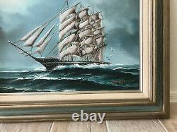 Vtg Seascape Sailing Sloop Boat Tall Ship Original Oil Painting Hewitt Jackson