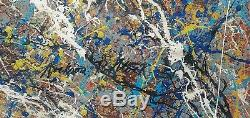 XXL 1951 Jackson Pollock Signed Abstract Modernist Painting On Canvas