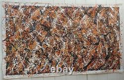 XXL Jackson Pollock Signed Abstract Modernist Painting On Canvas
